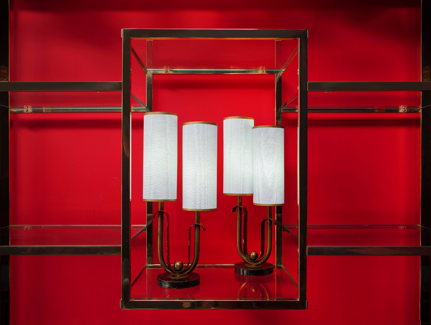 art deco lamps, sillampshade, brasslampsroyere
