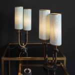 artdecolamps on glasstable, silklampshades