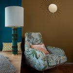 italian armchair, sunbirtsmirror table lamp colourschme by harry clark